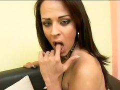 Sexy titty latina TS screwed & jizzed